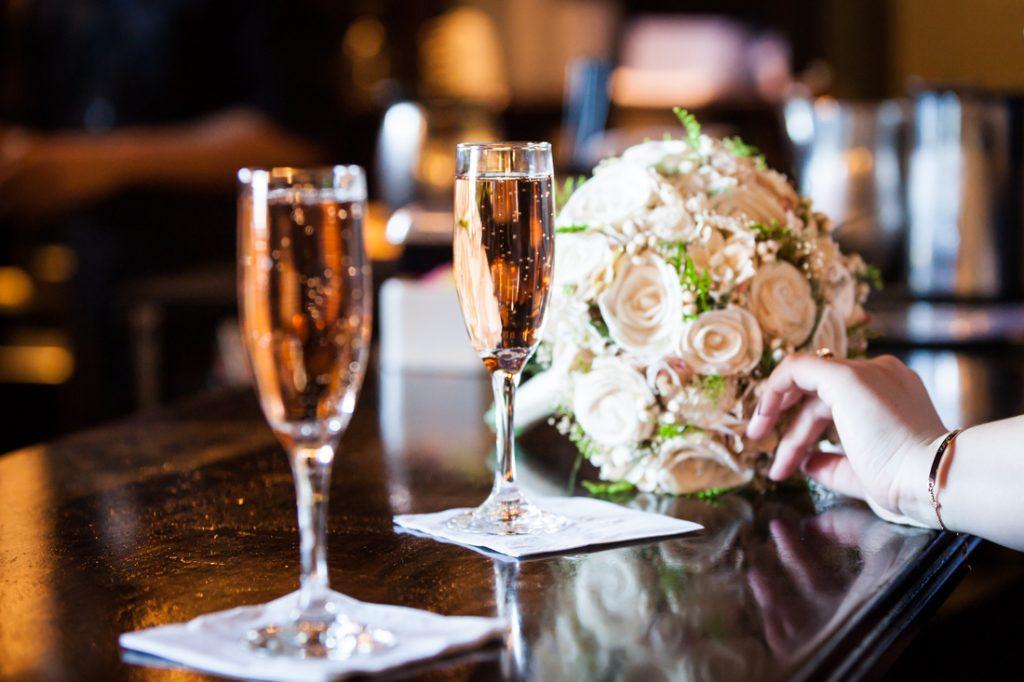 Glasses of pink champagne at New Leaf Restaurant