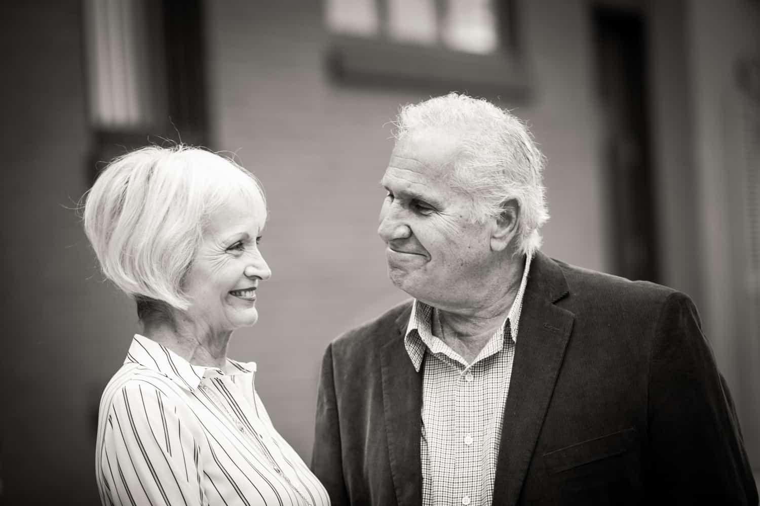 Black and white photo of older couple in Washington Mews