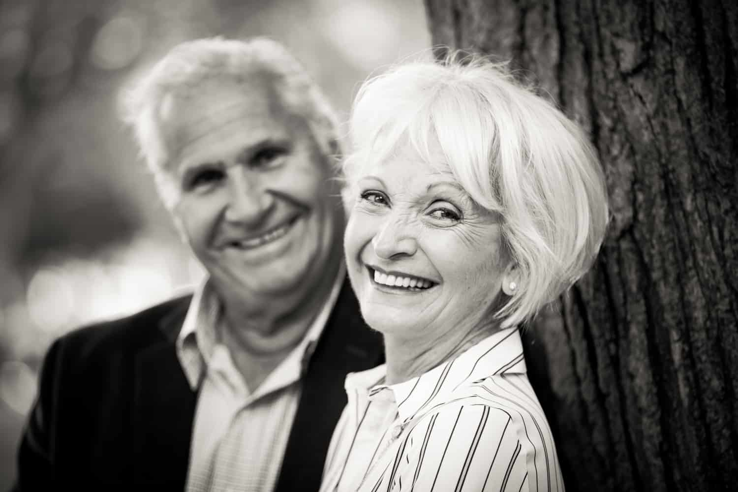 Black and white photo of older couple