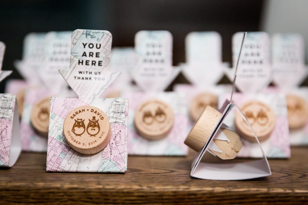 Personalized corks from a wedding for article on creative guest favors