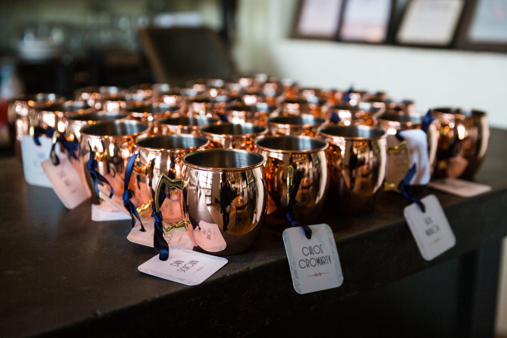 Copper mugs from a wedding for article on creative guest favors