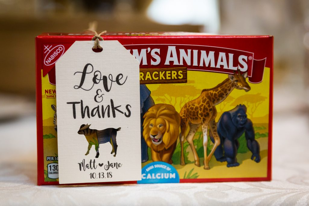 Box of animal crackers with note for article on creative guest favors