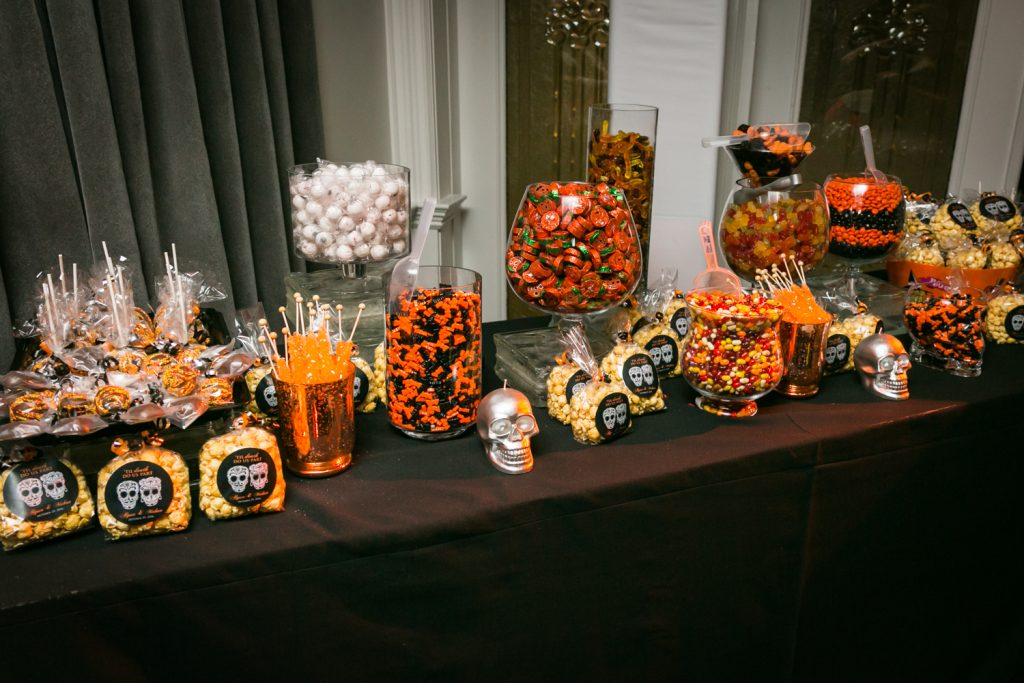 Display of candy at a wedding buffet