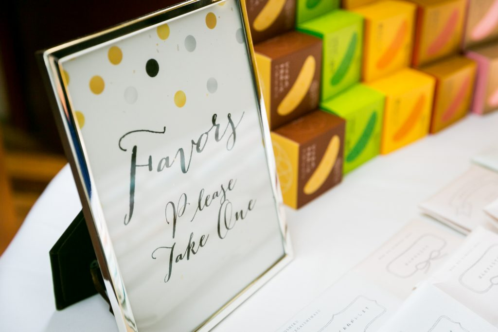 Display of guest favors for article on creative guest favors