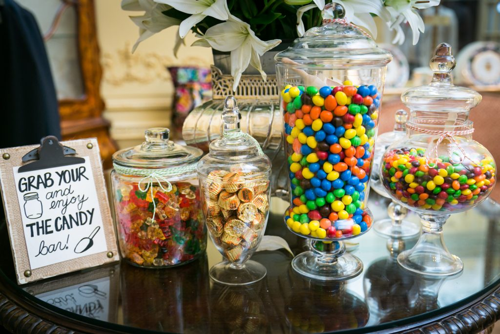 Display of candy for guests