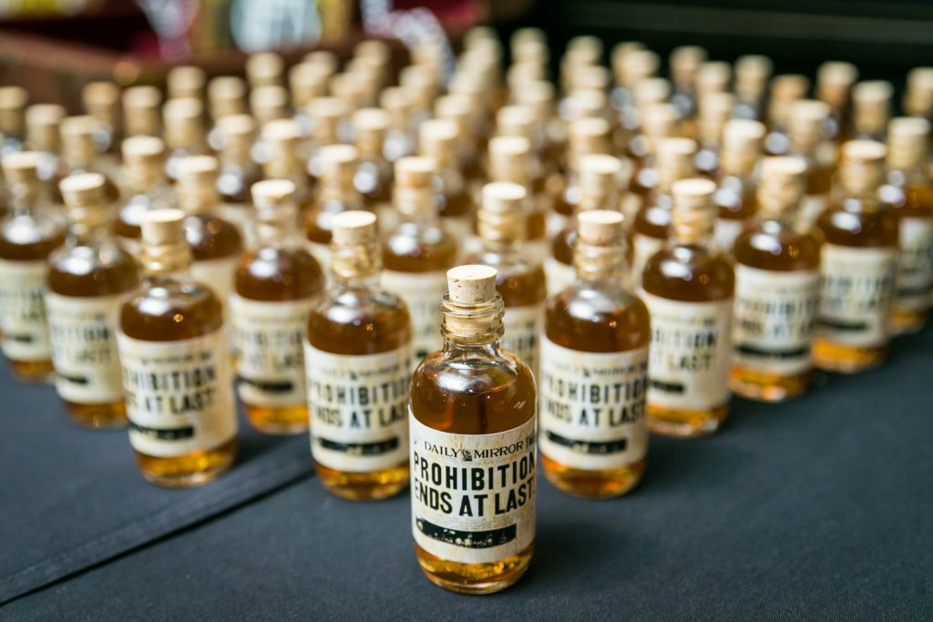 Little bottles of whiskey for article on creative guest favors