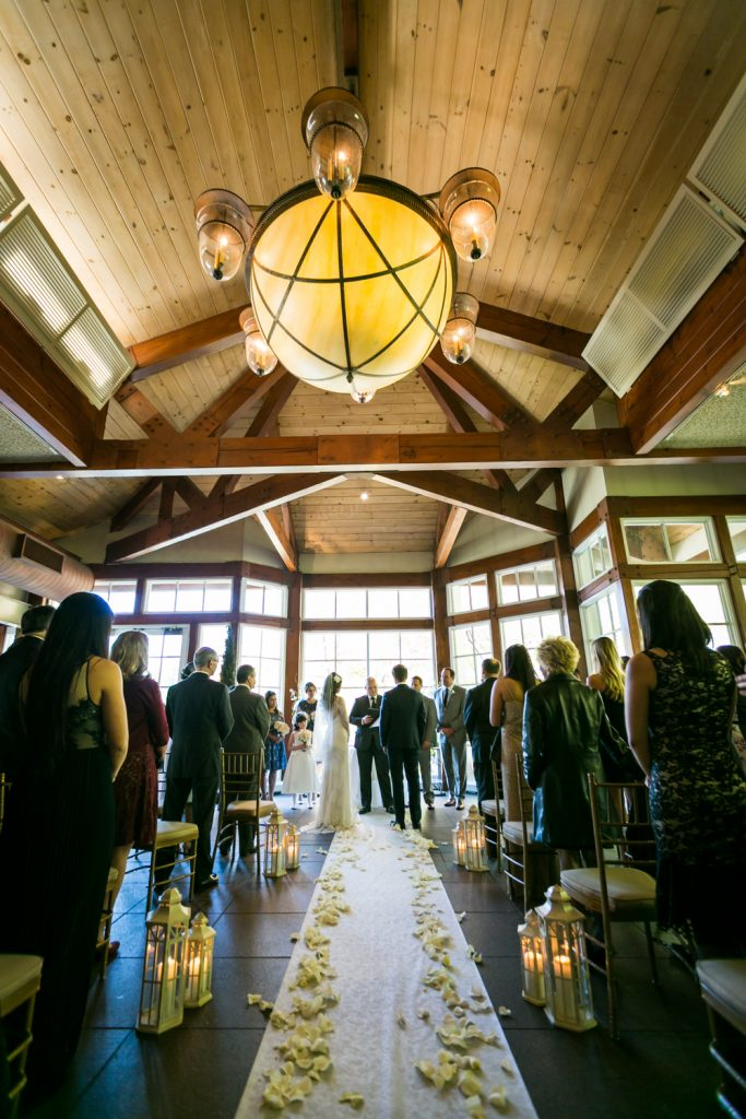 Wide view of ceremony at a Loeb Boathouse wedding in Central Park