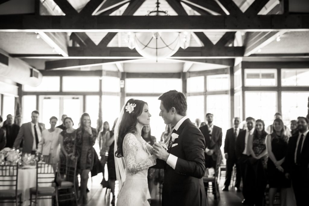 Black and white photo of bride and groom during first dance at a Loeb Boathouse wedding in Central Park