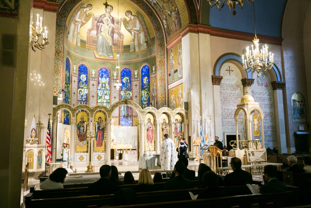 Interior of the Archdiocesan Cathedral of the Holy Trinity by NYC Greek orthodox baptism photographer, Kelly Williams
