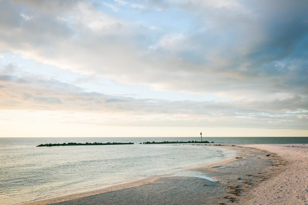 Clouds overhead along Honeymoon Island beach