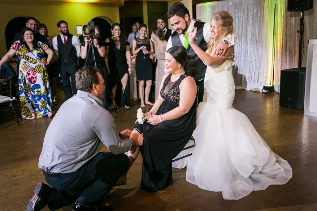 Garter toss ceremony at a West Palm Beach wedding