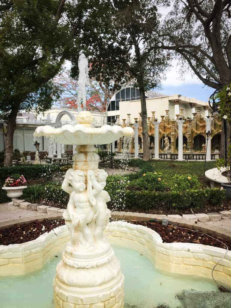 Fountain with cherubs outside the former Kapok Tree restaurant in Clearwater, Florida