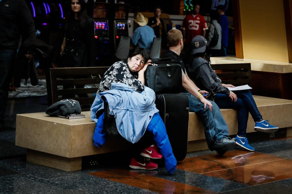 Tired traveler in Las Vegas