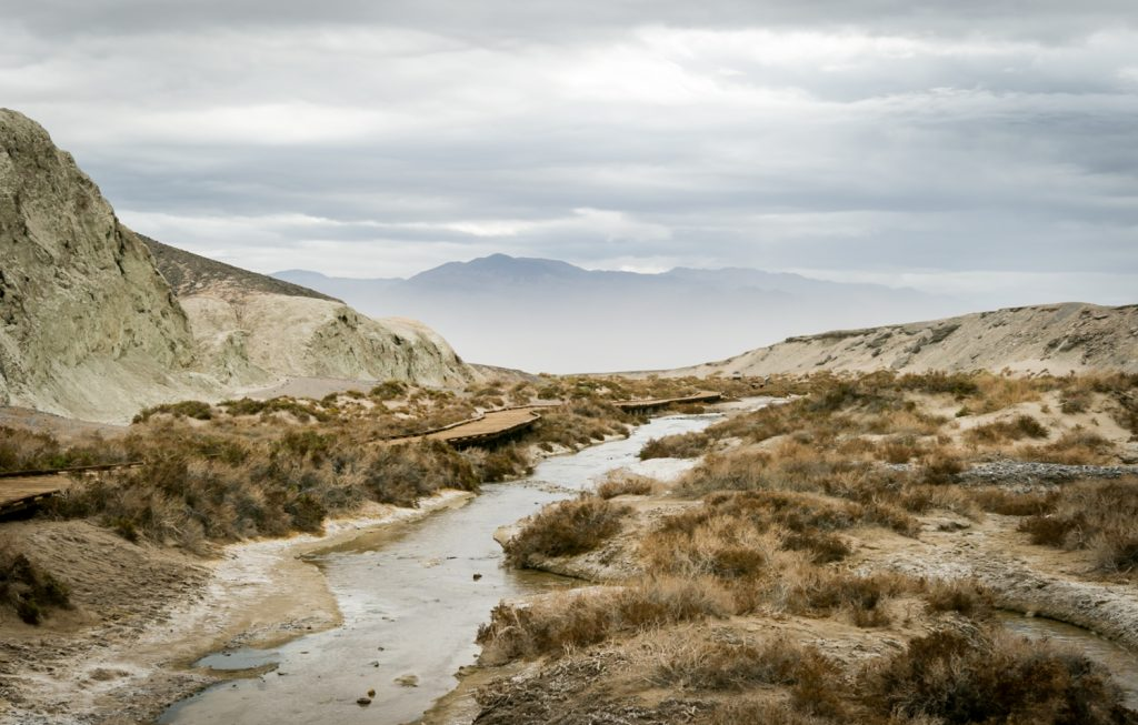 Creek running through mountains in Death Valley National Park