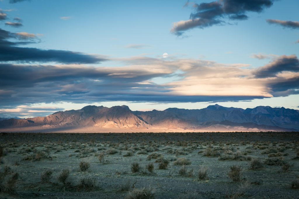 Sunset over mountains in Mojave National Preserve