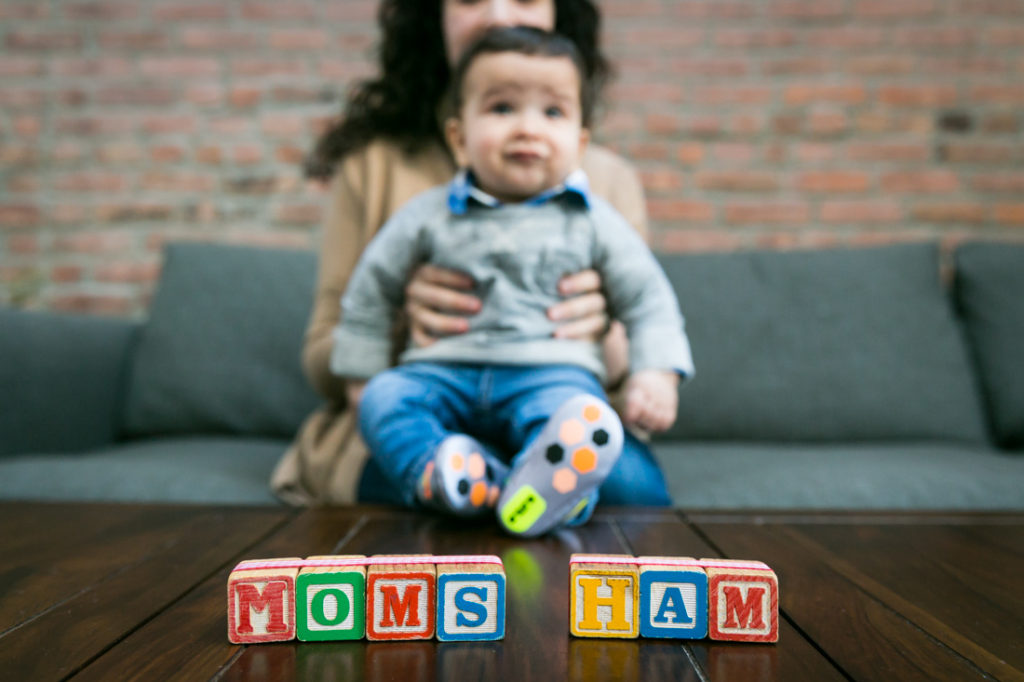 Mother and child portrait with blocks for an article on indoor baby portrait tips
