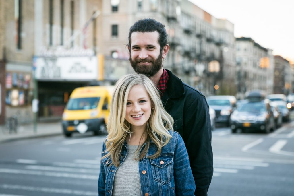 Windsor Terrace engagement photos of couple at Brooklyn intersection