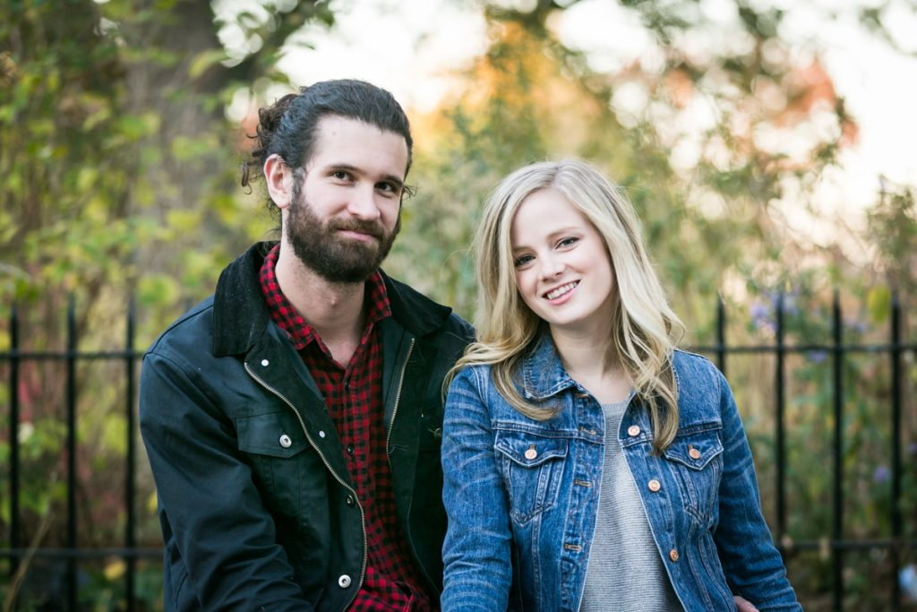 Windsor Terrace engagement photos of couple in front of Prospect Park iron gate