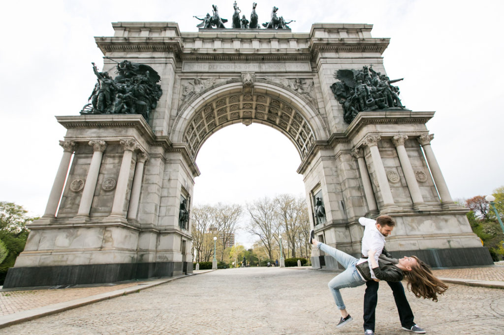 Couple dancing at Grand Army Plaza for an article on best engagement photos