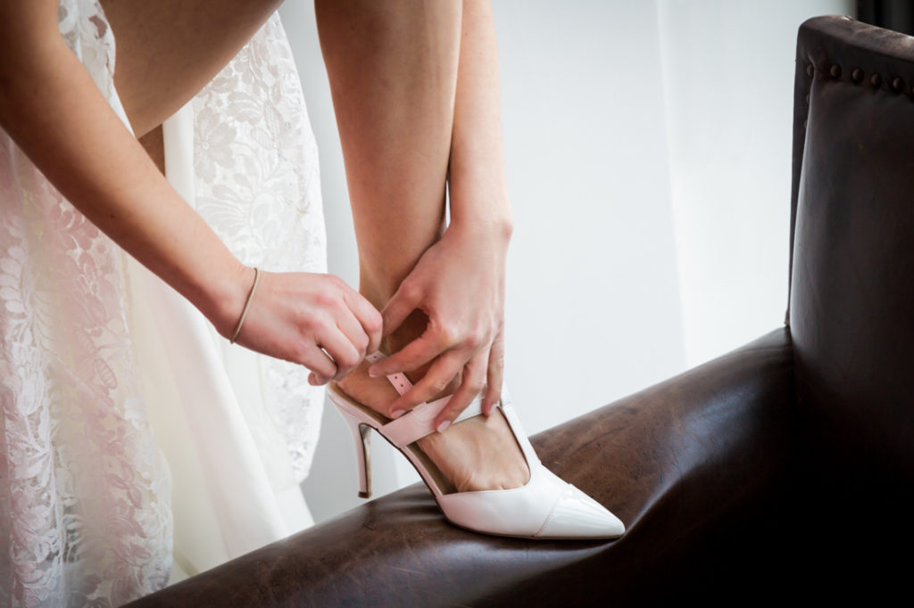 Bride's shoes at a Wythe Hotel wedding