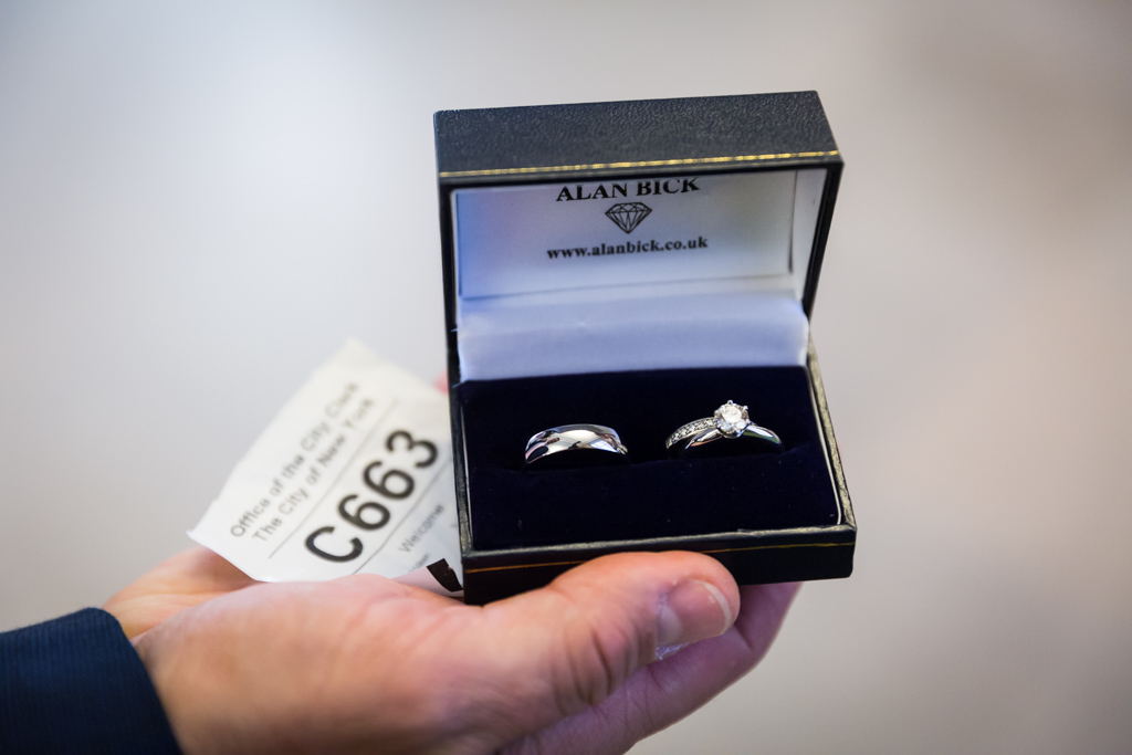 Wedding rings for a NYC City Hall elopement