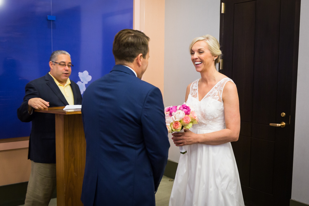 Wedding ceremony at a NYC City Hall elopement