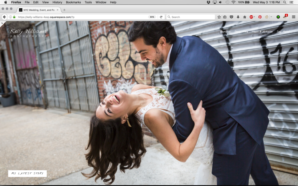 New website front page for Kelly Williams, Photographer