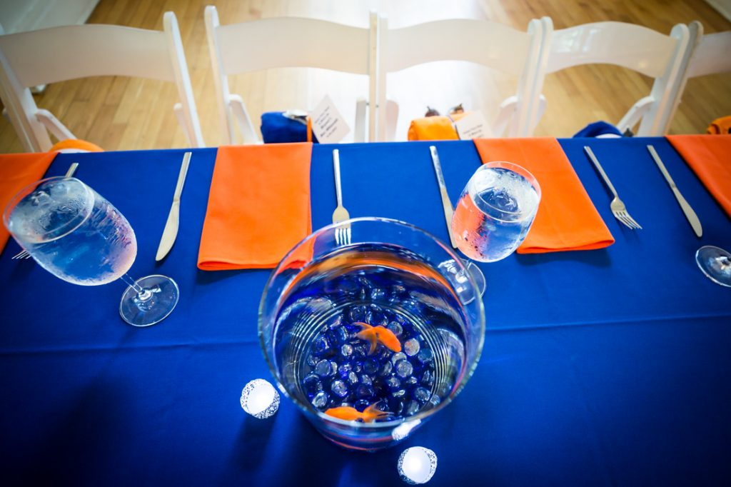 Goldfish centerpieces by bar mitzvah photographer, Kelly Williams