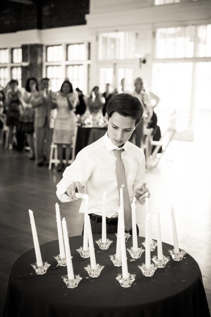 Candle-lighting ceremony by bar mitzvah photographer, Kelly Williams
