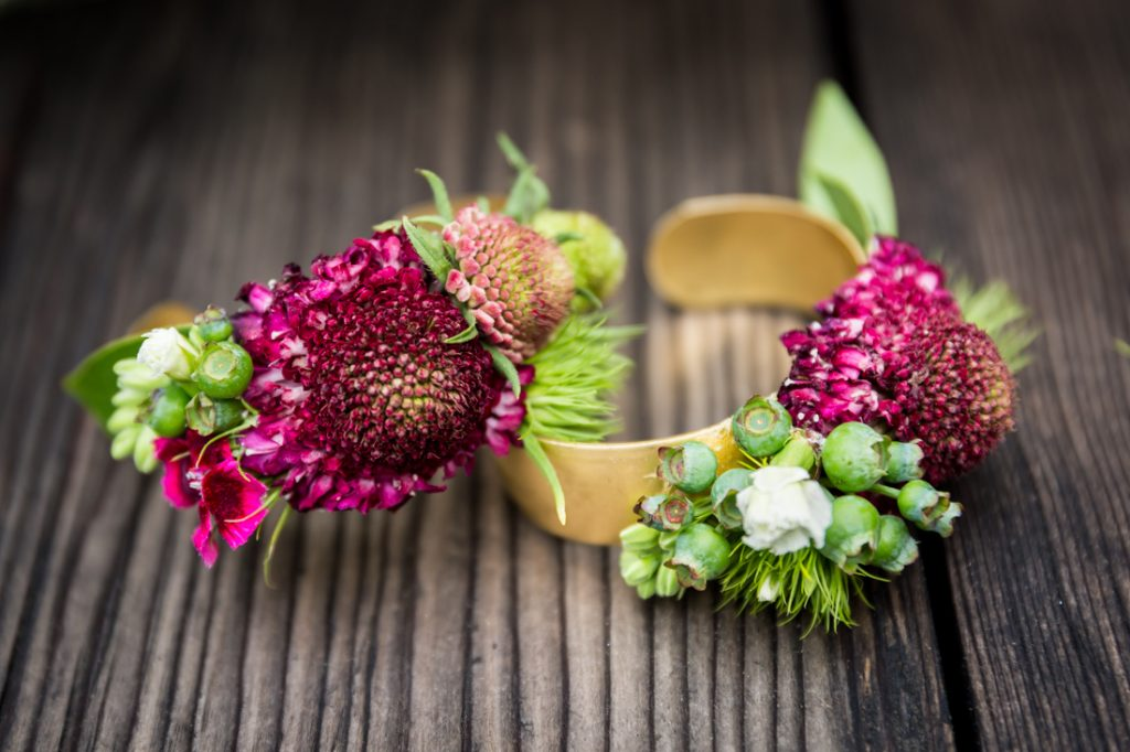 Flower on a gold bracelet for a SoHo wedding