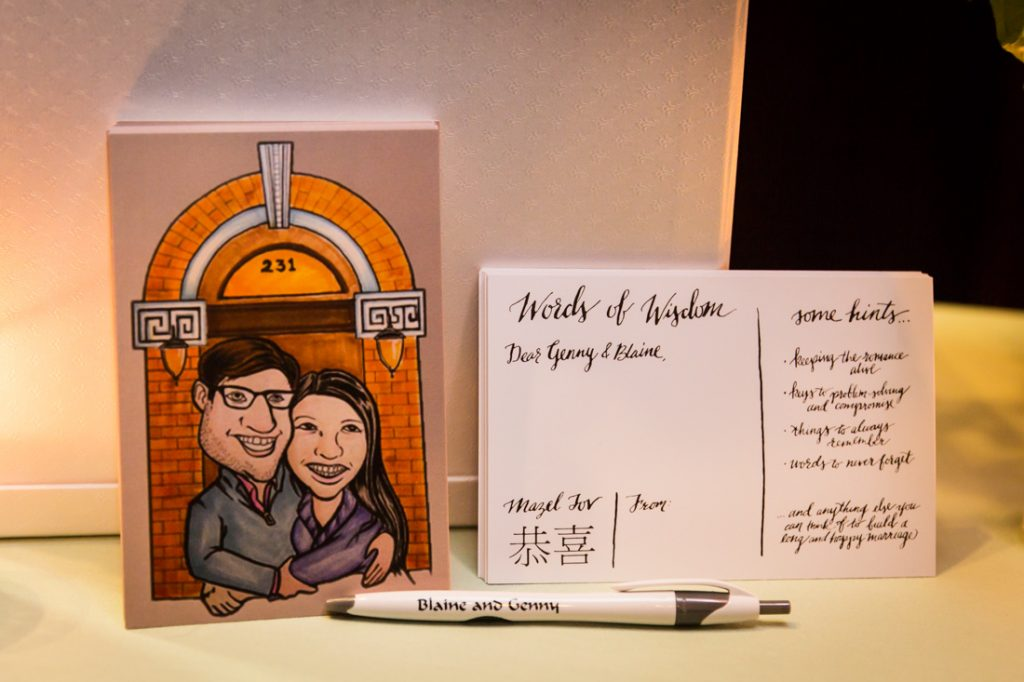 Bride and groom postcards for a SoHo wedding