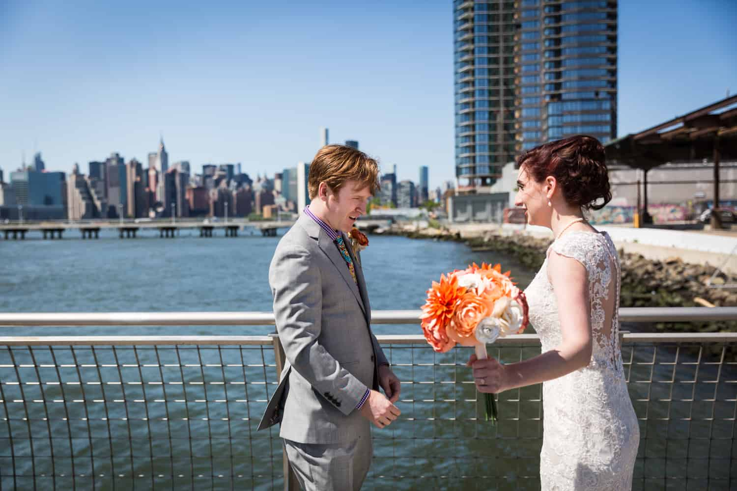 Groom seeing bride for first time during first look