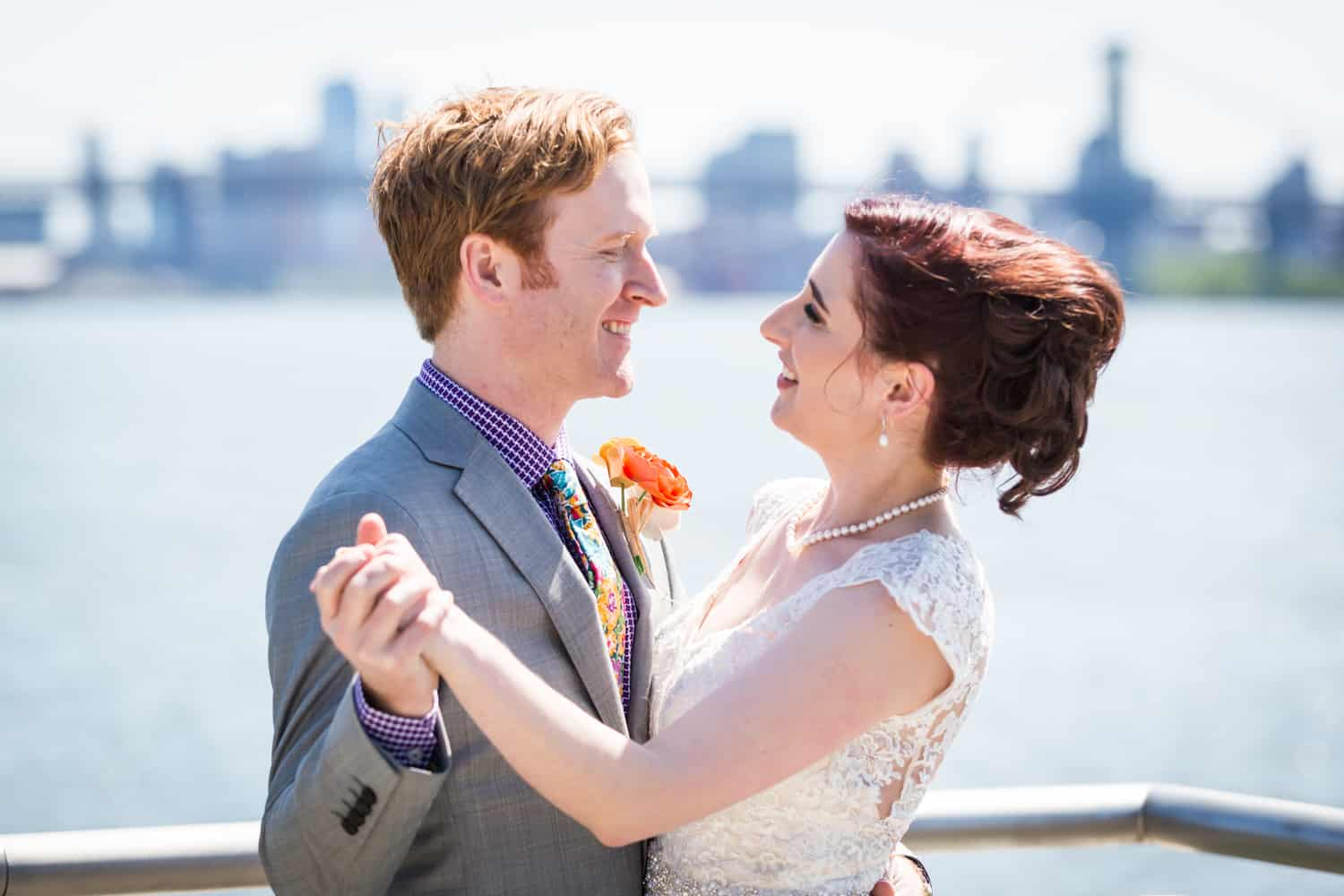 Bride and groom dancing at WNYC Transmitter Park