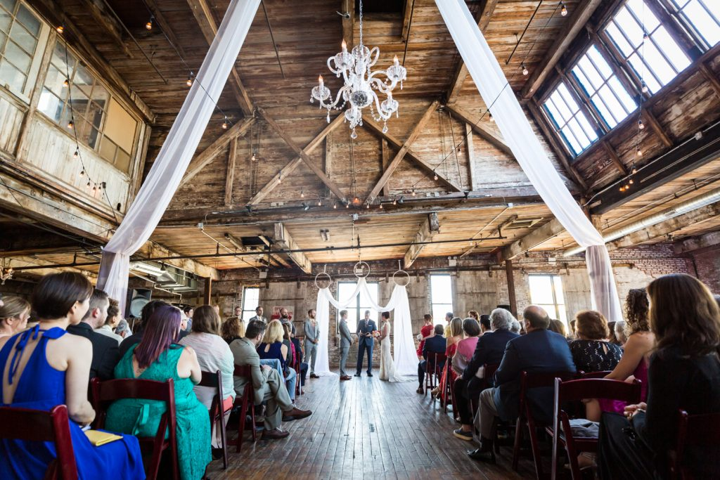 Wide shot of ceremony at a Greenpoint Loft wedding