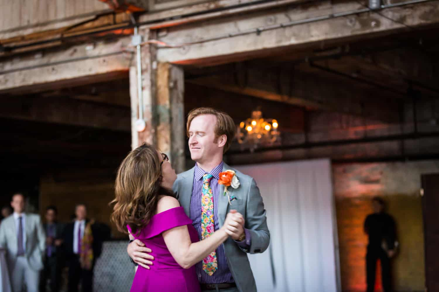 Groom and mother dancing at a Greenpoint Loft wedding