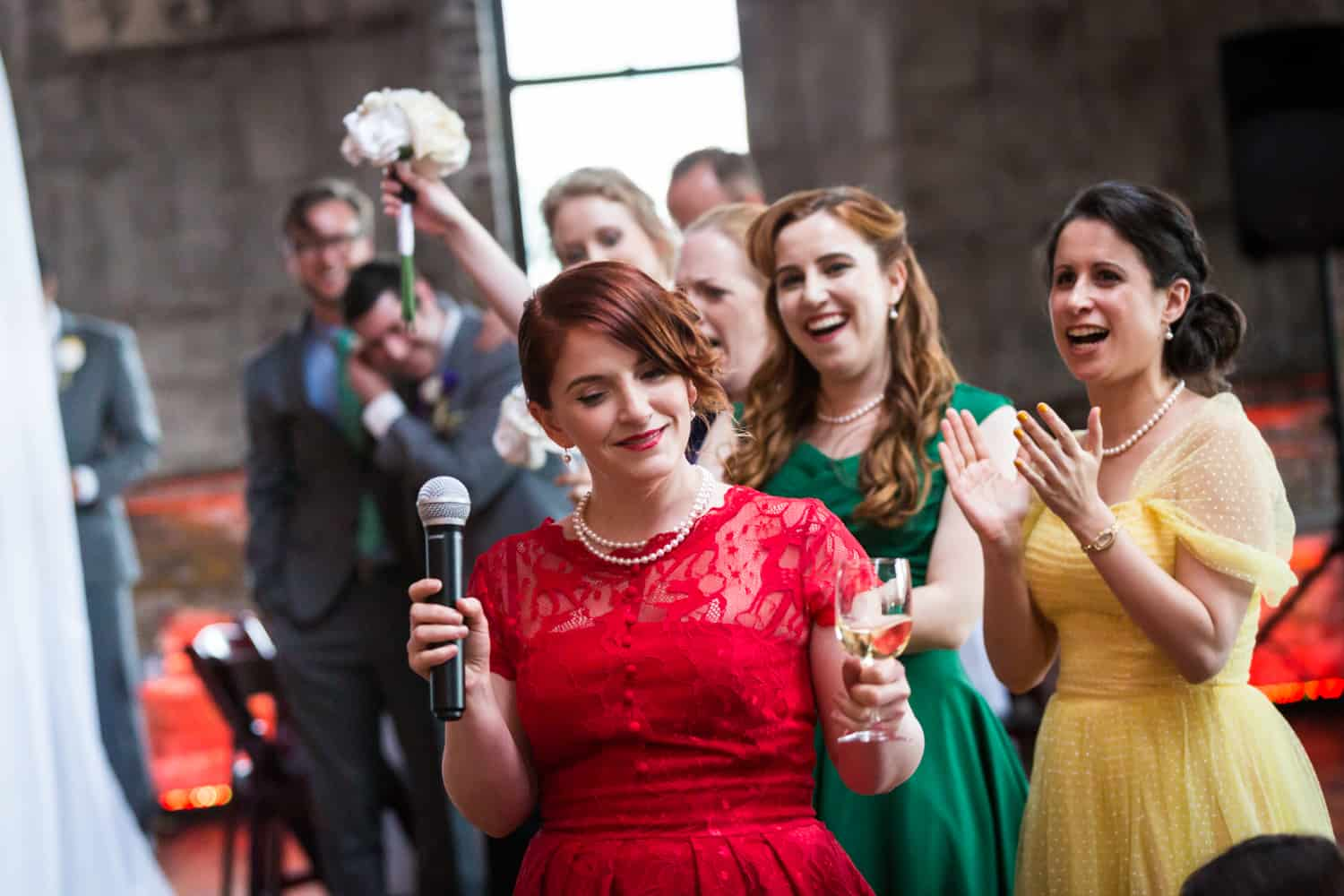 Maid of honor making speech at a Greenpoint Loft wedding