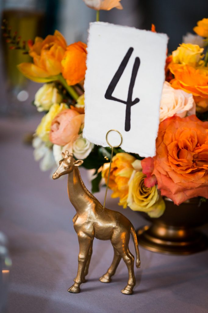 Table number for a Bronx Zoo wedding
