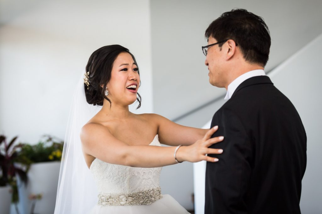 Father-daughter first look at a Maritime Parc wedding