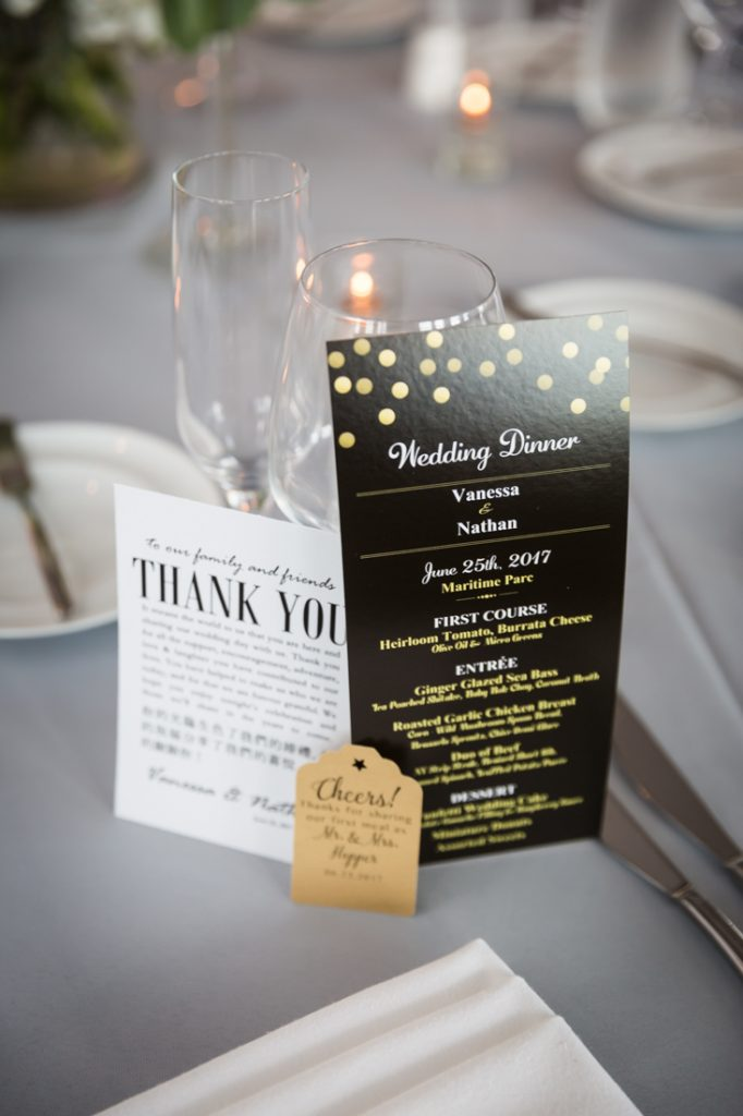 Menu cards at a Maritime Parc wedding