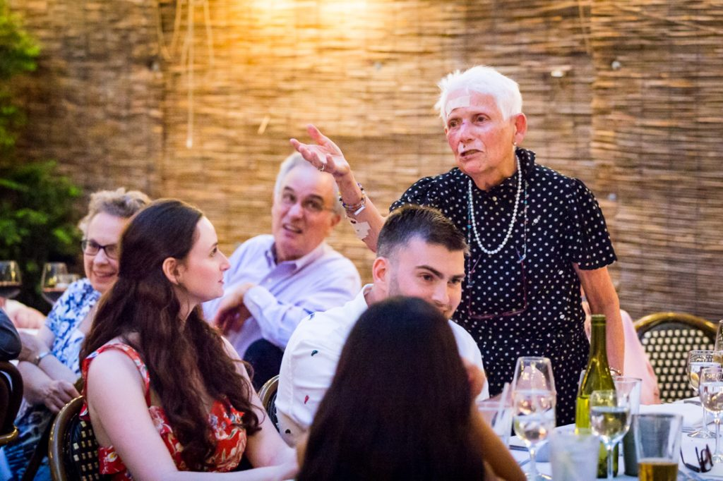 Toasts at a Brooklyn rehearsal dinner