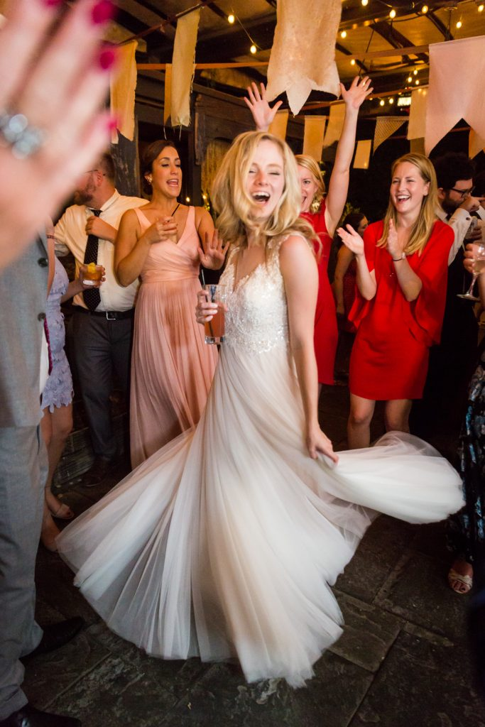 Bride dancing at at a Gallow Green wedding
