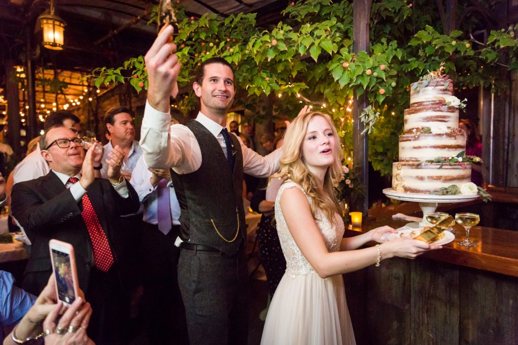 Cake cutting at at a Gallow Green wedding