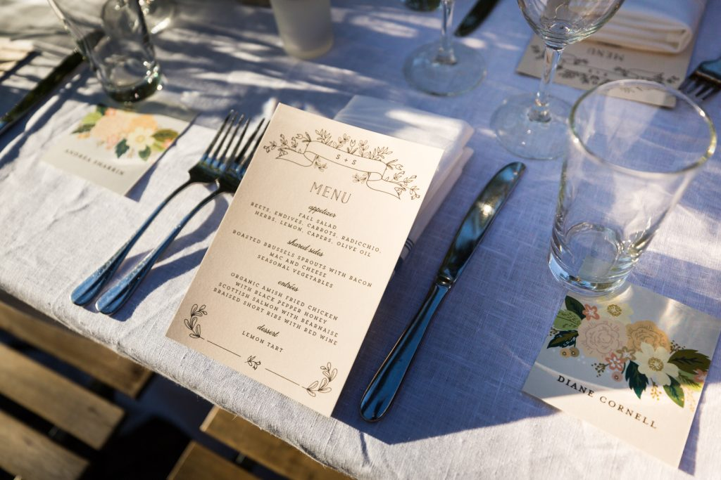Menu card at a Gallow Green wedding