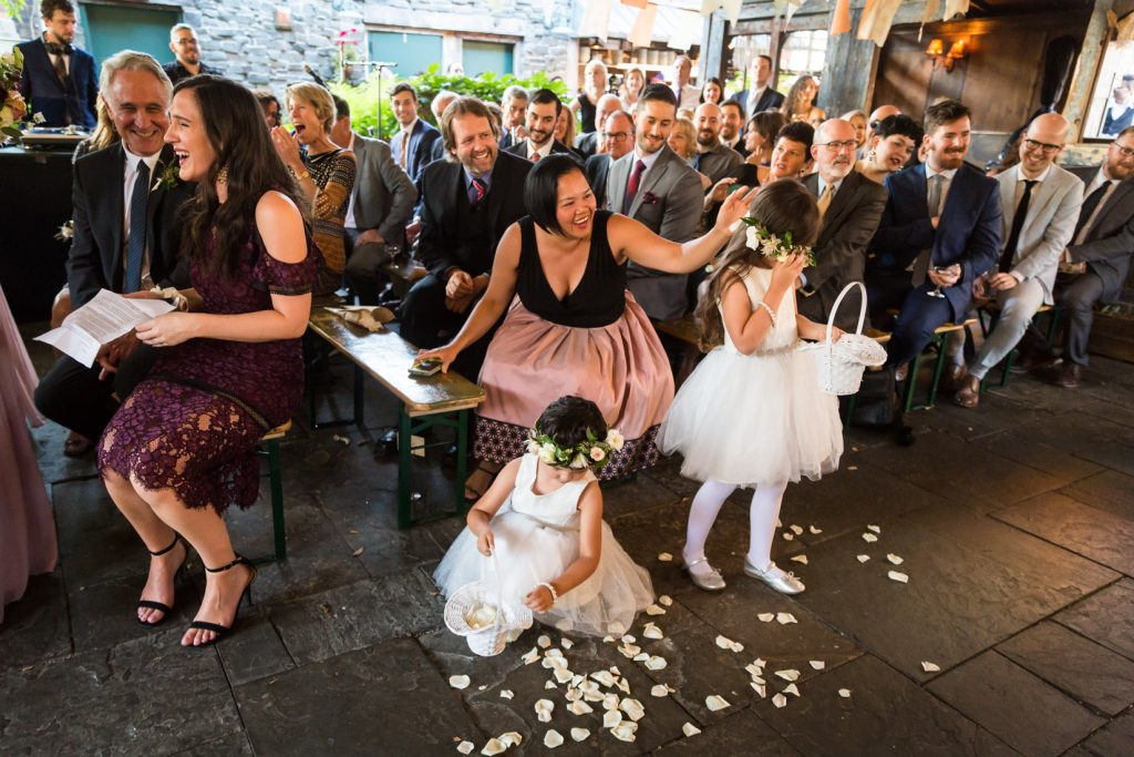 Flower girls at a Gallow Green wedding