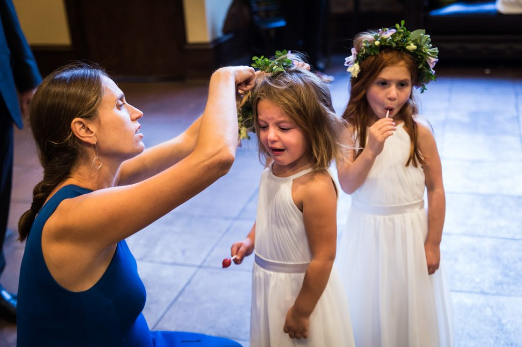 Flower girls crying at a 26 Bridge wedding