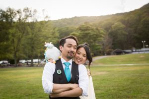 Bride and groom portraits at a Bear Mountain Carousel wedding