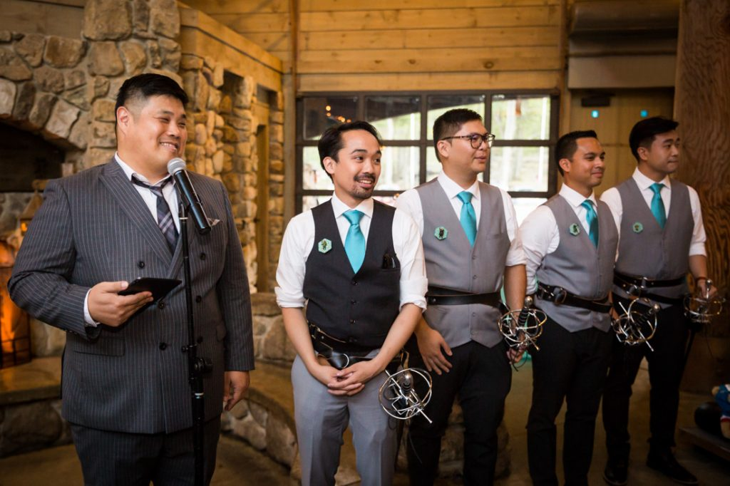 Groom and bridal party waiting for bride at a Bear Mountain Carousel wedding