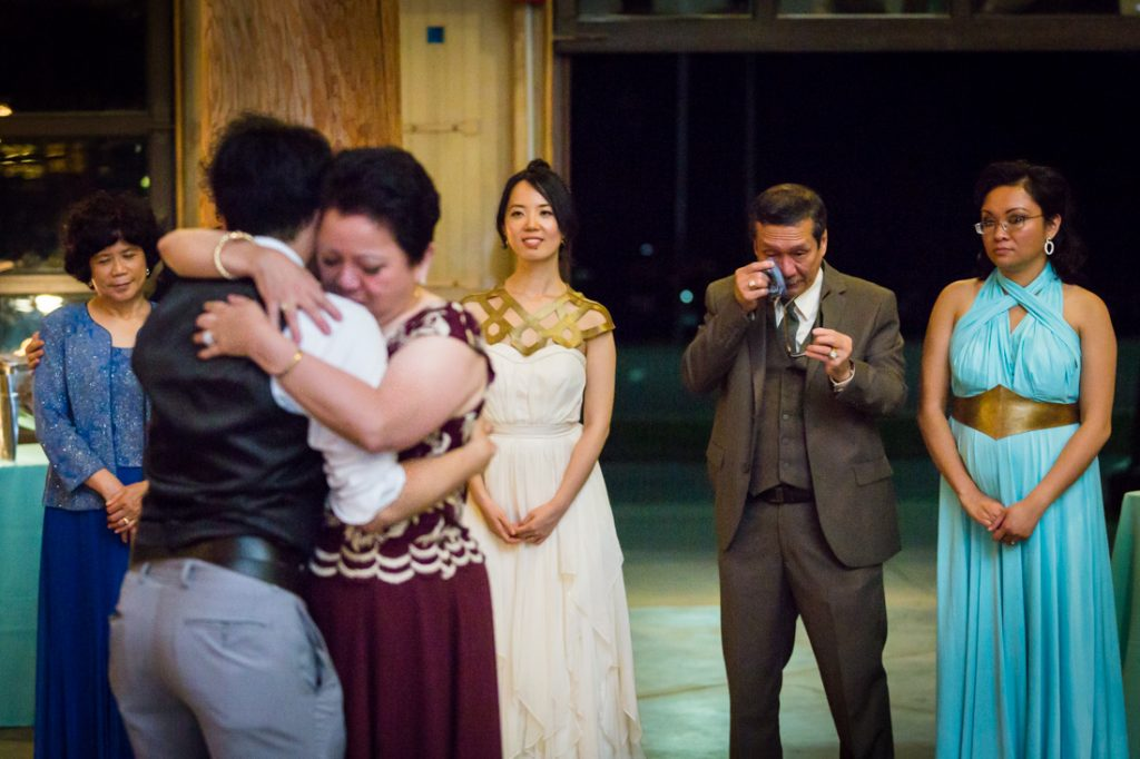 Mother-son dance at a Bear Mountain Carousel wedding
