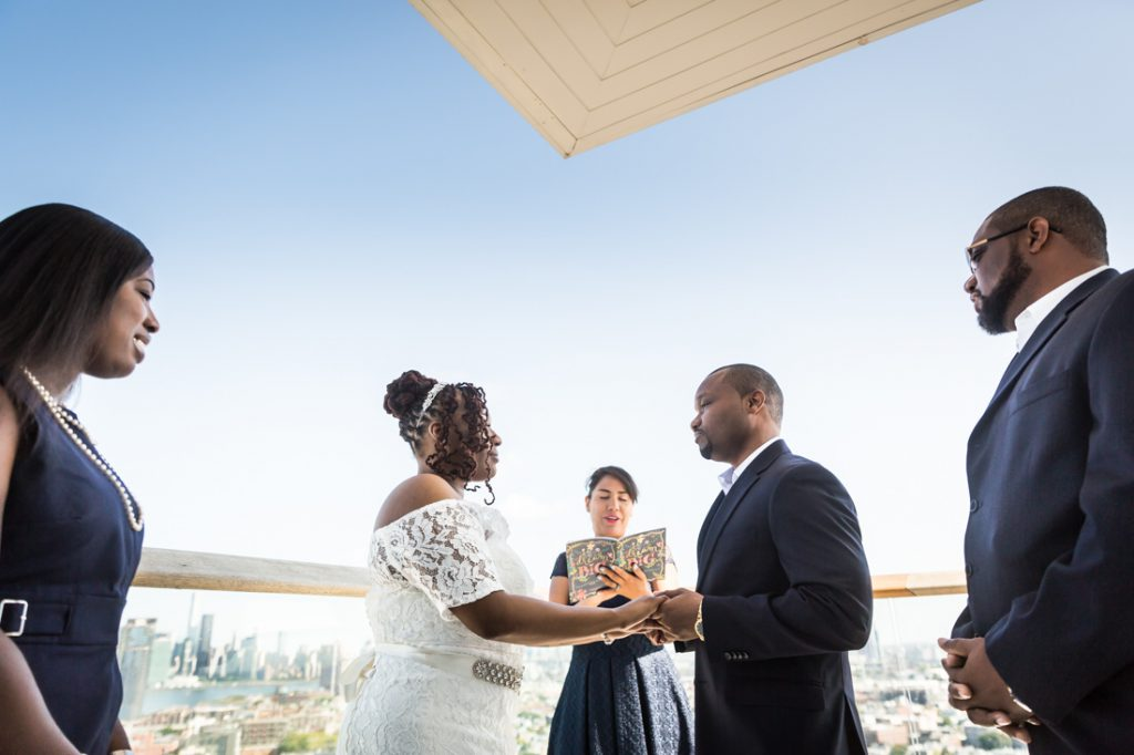 Wedding ceremony for an article on elopement tips