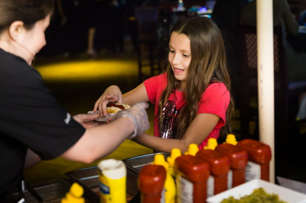 Hot dog cart at a bat mitzvah for an article on 'How to Find a Venue'